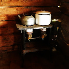 Wood Stove by Kasha Newsom - Artistic Objects Furniture ( cabin living, country living, historical, antique, wood stove )