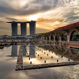 Morning at Marina Bay by Kristianus Setyawan - City,  Street & Park  Skylines ( clouds, skyline, reflection, marina bay sands, cityscape, morning, landscape, singapore, marina bay, sky, morning sky, landscape photography, cloudy, sunrise, city skyline )