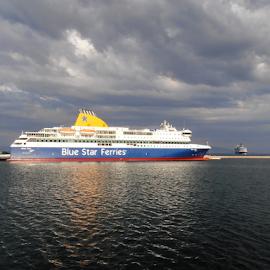 Ship Blue Star in port of Mytilini by Snezana Petrovic - Transportation Boats ( port, waterscape, colorful, ship, greece, sea, landscape, island, blue star, sky, snezana petrovic, horizontal, outdoor, cludy, mytilini, lesbos )
