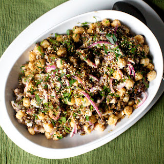 Lentil and Chickpea Salad with Feta and Tahini