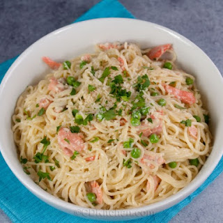 Salmon in Cream Sauce over Pasta