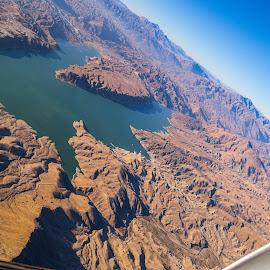 Afghan Reservoir by Thomas Larkin - Landscapes Deserts ( helicopter, reservoir, desert, erosion, afghanistan )