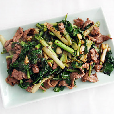 Stir-Fried Beef With Kale and Frisée in Black Bean Sauce