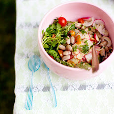 Cranberry Bean Salad with watercress, radish, and cherry tomatoes