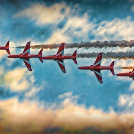 Reds 7272 by Kelly Murdoch - Transportation Airplanes ( clouds, red arrows, uk, display, ztam, colour, flight, england, reds, red, sky, aircraft, air display, planes )