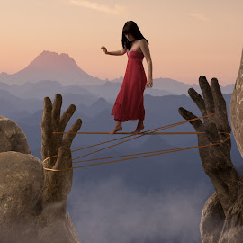 tightrope walker by Dave Lord - Digital Art People ( hands, mandolin, landscape, surreal, tightrope walker,  )