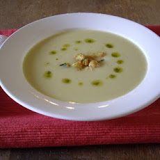 Courgette Vichyssoise with Parmesan Crusted Courgette Croutons