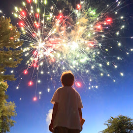 Standing in Awe by Chuck Holton - Babies & Children Children Candids ( awe, west virginia, fireworks, summer, childhood, boy )