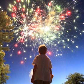 Standing in Awe by Chuck Holton - Babies & Children Children Candids ( awe, west virginia, fireworks, summer, childhood, boy )