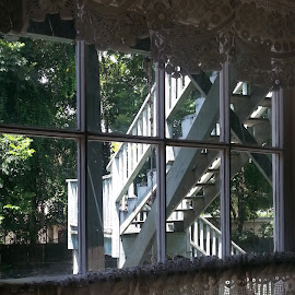 Stairwell View by Valerie Bombino - Buildings & Architecture Homes ( window view, stairs view, window scene, windows, shadows )