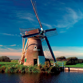 Hoep Doet Leven windmill by Pete Bobb - Buildings & Architecture Public & Historical ( blue, autumn, waterpump, holland, windmill,  )