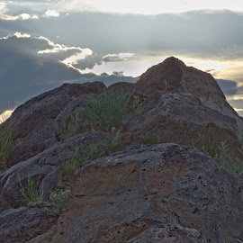 Backlit Rock by Jon Foley - Landscapes Deserts ( clouds, gorgeous, sunset, albuquerque, rock, new mexico )