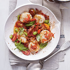 Scallop Skillet with Bacon, Edamame, Basil, and Creamy Grits