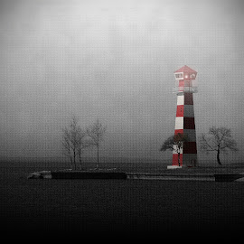 Into the Light by Trish Mistric - Digital Art Places ( guide, stormy, nobody, harbor, mystery, minimal, radar, architecture, beach, house, storm, sky, tree, nature, search, gulf, dark, light, maritime, alone, black, isolated, structure, textures, twilight, minimalism, mysterious, white, lake, stripes, dusk, navigation, bay, textured, horizontal, outdoors, trees, away from it all, moody, outside, nautical, hope, port, guidance, haze, shore, simple, secure, signal, ocean, object, security, seaside, landscape, coastline, coast, island, dramatic, cloudy, evening, construction, hazy, tall, water, clouds, marine, safe, building, seaport, communication, navigate, lighthouse, sea, seascape, simplistic, tower, foggy, red, safety, fog, background, lamp, night, beam, beacon, high, atmospheric, warning, selective color, pwc )