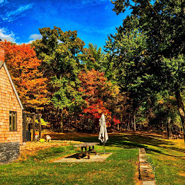 The House on the Hill by Diane Clontz - Novices Only Landscapes ( home, copake, fall colors, vibrance, homeiswheretheheartis )