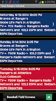 Screenshot of Schedule Texas Rangers fans