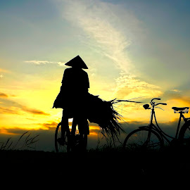 by Wartono Kumpulono - Transportation Bicycles ( bike.man, sunset )