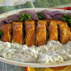 Mayo Tzatziki Served Over Roasted Salmon With Anchovies