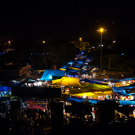 Market at Chandni Chawk by Debajit Bose - City,  Street & Park  Markets & Shops ( canon, street, yellow, oldest market, city, market, chandni chawk, blue, canon 60d, india, debajit bose, light, night shot )