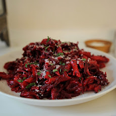 Red Beet Fusilli with Balsamic, Poppy Seeds and Mint