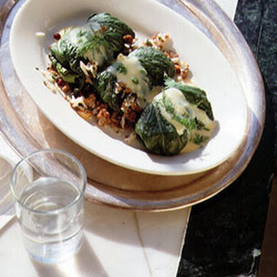 Stuffed Romaine Leaves with Avgolémono Sauce
