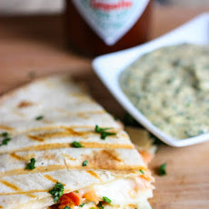 Smoked Salmon Quesadillas with Creamy Chipotle Cilantro Sauce