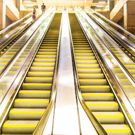 Yellow Stairway by Franco Beccari - Buildings & Architecture Public & Historical ( subway, stairs, metro, underground, escalator )