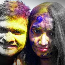 Colorful Couple by Anindya Bhattacharjee - People Couples ( dol, rang, pinki, holi, anindya )