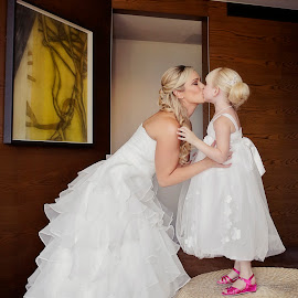Kisses for Mummy by Alan Evans - Wedding Getting Ready ( wedding photography, flowergirl dress, melbourne wedding photographer, melbourne, wedding, aj photography, getting ready, wedding dress, pink shoes, bride, flowergirl, kisses,  )