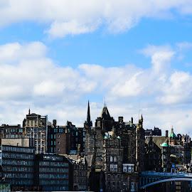 Edinburgh Skyline from Calton Hill by Lyndsay Hepburn - City,  Street & Park  Skylines ( edinburgh, edinburghcityscapefromcaltonhill, europeancityscape, cityscape, caltonhillview )