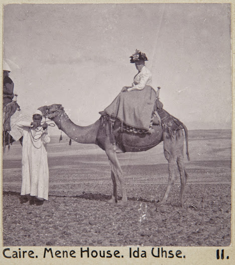 Ida Uhse on a camel's back at Mena House Hotel.