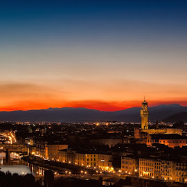 Florentine sunset by Peter Oshkai - City,  Street & Park  Vistas ( italian, mountain, tourism, cityscape, architecture, landscape, attraction, city, florence, sunset, night, italy, panoramic )