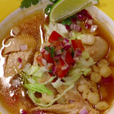 Pressure Cooked Chicken Posole with Avocado Tomatillo Salsa
