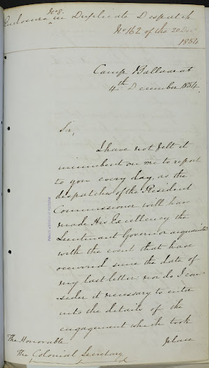 "This report from Captain Charles Pasley, dated 4 December 1854, is concerned to justify the government's decision to attack the Eureka Stockade and the subsequent slaughter. <a href=""http://wiki.prov.vic.gov.au/index.php/Eureka_Stockade:Report_from_C.Pasley_to_the_Honorable_Colonial_Secretary_about_the_aftermath_of_the_battle"">Click here to see more of this record on our wiki</a>. Pasley emphasises the state of rebellion in the Stockade, and asserts that the stockaders had fired first."