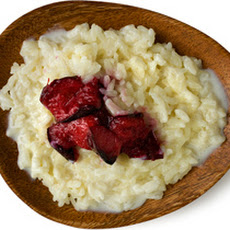 Creamy Rice Pudding with Broiled Plums Recipe