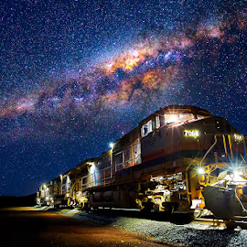 Pilbara Express by Matt Hutton - Transportation Trains ( railway, locomotive, stars, rail, train, milky way, land, device, transportation )