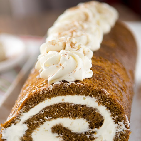 Gingerbread Cake Roll with Eggnog Whipped Cream