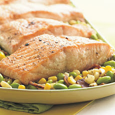 Seared Salmon Fillets with Edamame Succotash