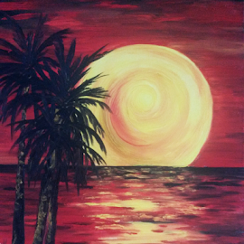 Tropical Golden Moon by Rhonda Lee - Painting All Painting ( modern, palm, moon, red, full, silhouette, art, night, yellow, painting, black )