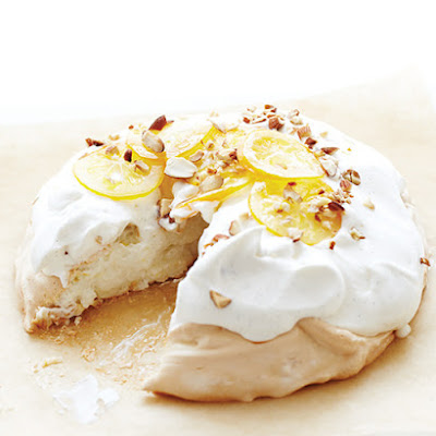 Pavlova with Vanilla Cream & Candied Meyer Lemon