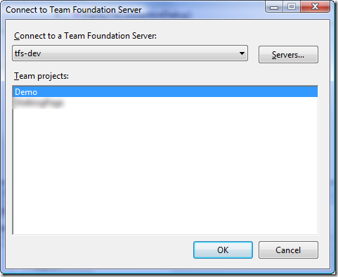 Connect to Team Foundation Server Dialog - Single-Project Select - Default