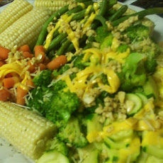 Steamed Vegetable Platter With Lemon Garlic Dressing