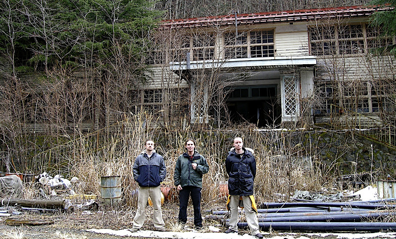 Me and the Mikes in front of the abandoned school