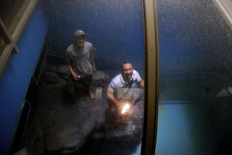 Scott and Mike in the seal tank at the Niigata Russian Village Haikyo