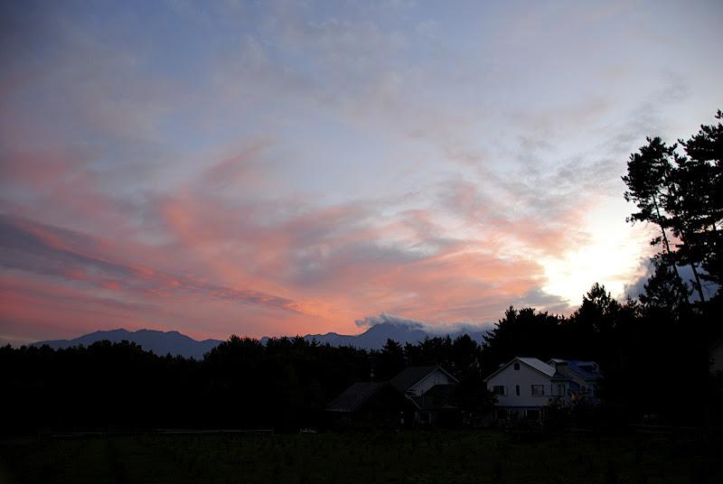 Pink dusk sky in Yatsugatake Nagano Japan
