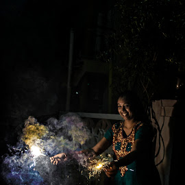 Indian diwali festival celebration by Ivon Murugesan - Abstract Fire & Fireworks ( mamallapuram, potrait, firework, street, candid, people, photography, diwali, pondicherry, fireworks, india, festival, streets, fire works, potraits )