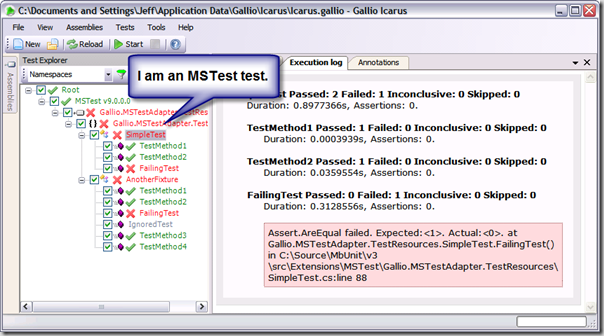 An MSTest test running in Icarus courtesy of Gallio