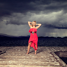 Summer Storm by Darci Amundson - People Portraits of Women ( clouds, lake, storm, senior, dock, stormy, weather )