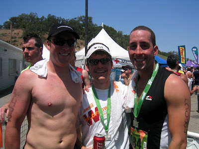 Danny Rising, Jesse Englert, and Ryan Quinley at the finish