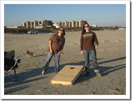 Sarah & Stephanie playing cornhole